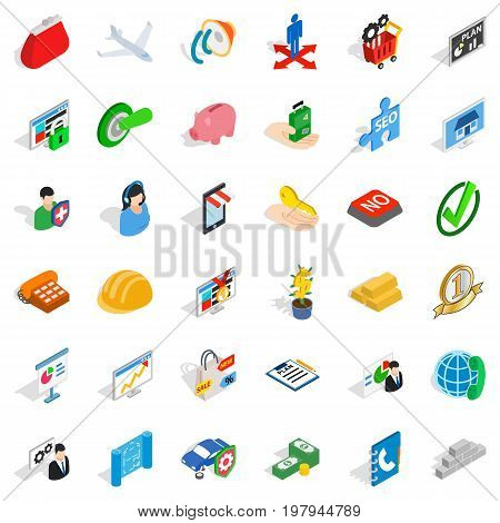 Business planning icons set. Isometric style of 36 business planning vector icons for web isolated on white background