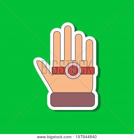 paper sticker on stylish background of Kids toy bracelet hand