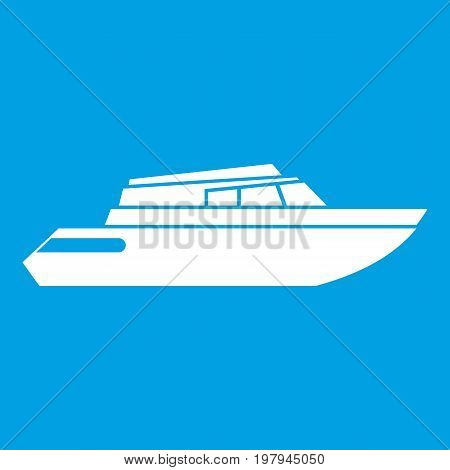Planing powerboat icon white isolated on blue background vector illustration