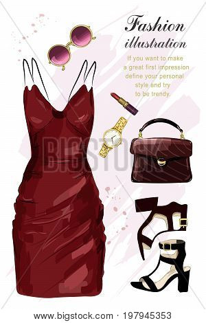 Romantic evening clothing set. Fashion clothes set with dress, shoes, hand bag, lipstick, sunglasses, watch. Sketch. Vector illustration.