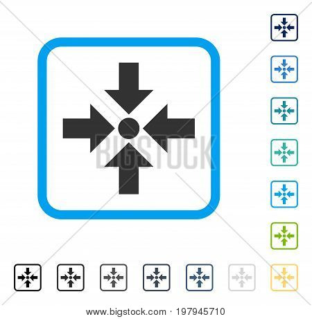 Shrink Arrows icon inside rounded rectangle frame. Vector illustration style is a flat iconic symbol in some color versions.