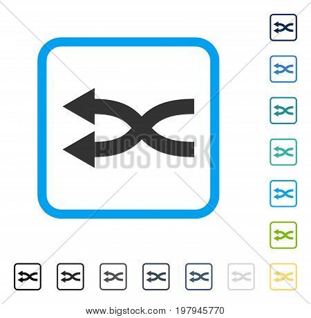 Shuffle Arrows Left icon inside rounded rectangle frame. Vector illustration style is a flat iconic symbol in some color versions.