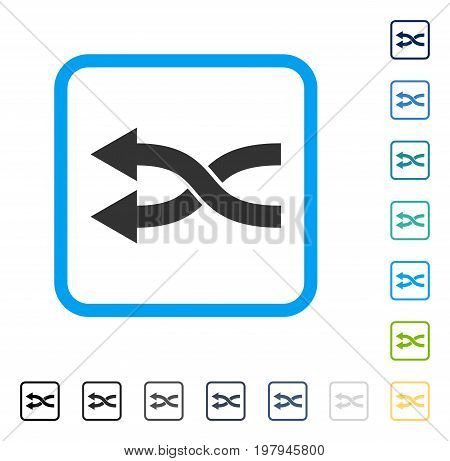 Shuffle Arrows Left icon inside rounded square frame. Vector illustration style is a flat iconic symbol in some color versions.