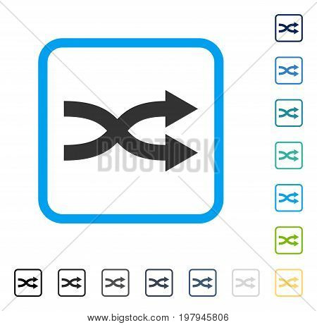 Shuffle Arrows Right icon inside rounded rectangle frame. Vector illustration style is a flat iconic symbol in some color versions.