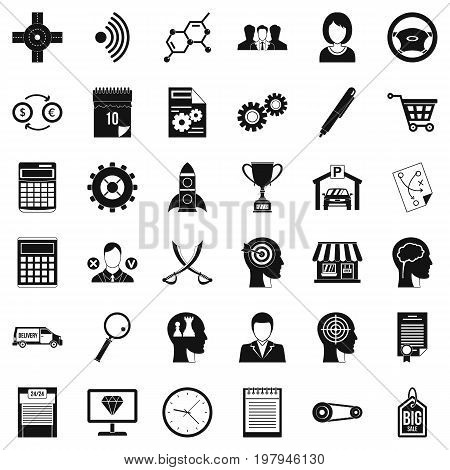 Business way icons set. Simple style of 36 business way vector icons for web isolated on white background