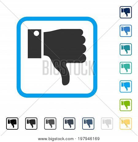 Thumb Down icon inside rounded rectangle frame. Vector illustration style is a flat iconic symbol in some color versions.