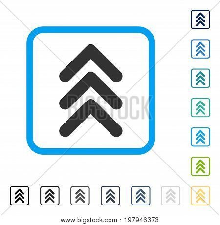 Triple Arrowhead Up icon inside rounded square frame. Vector illustration style is a flat iconic symbol in some color versions.