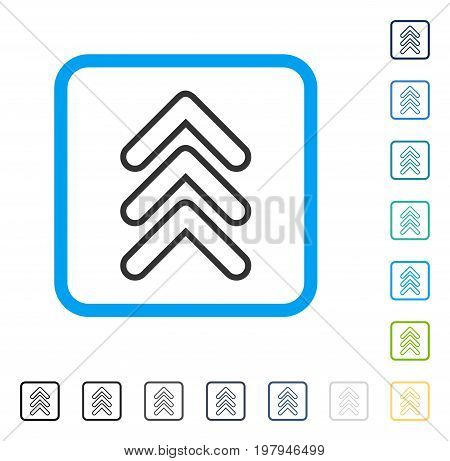 Triple Pointer Up icon inside rounded square frame. Vector illustration style is a flat iconic symbol in some color versions.