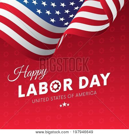 Happy Labor Day. Red gradient background. Gears background. Waving flag. Vector illustration.
