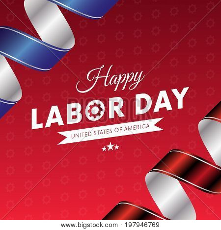 Happy Labor Day. Red gradient background. Waving flag. Red and blue gradient ribbons. Gears background. Vector illustration.
