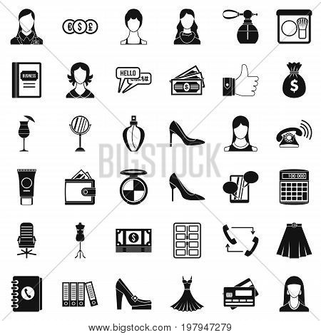 Official clothes icons set. Simple style of 36 official clothes vector icons for web isolated on white background