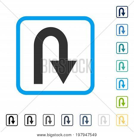 U Turn icon inside rounded square frame. Vector illustration style is a flat iconic symbol in some color versions.