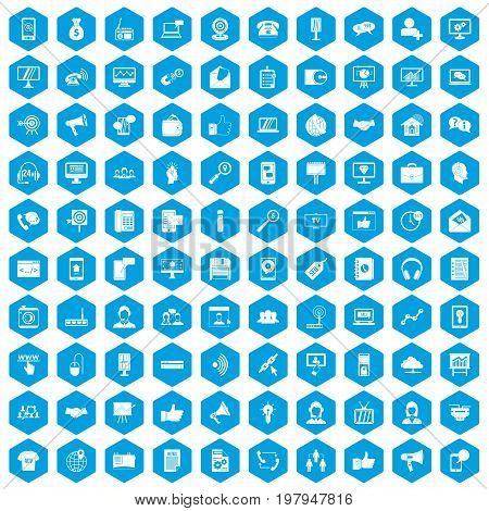 100 help desk icons set in blue hexagon isolated vector illustration