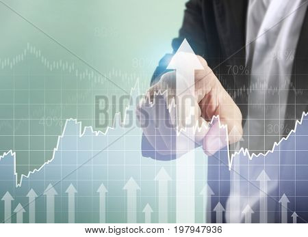 Businessman touching graphs of financial indicator and accounting market economy analysis, display data of fast growing business with different types of graphs bar and line chart on visual screen