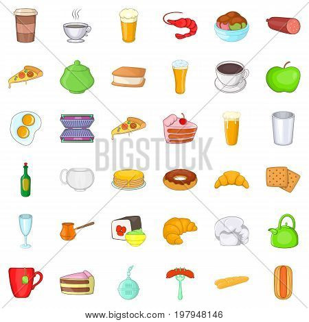 Cafe dish icons set. Cartoon style of 36 cafe dish vector icons for web isolated on white background