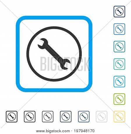 Wrench icon inside rounded rectangle frame. Vector illustration style is a flat iconic symbol in some color versions.