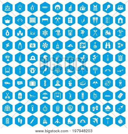 100 holidays family icons set in blue hexagon isolated vector illustration