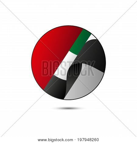 United Arab Emirates flag button with shadow on a white background. UAE. Vector illustration.