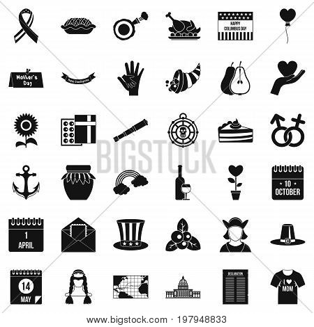 Calendar celebation icons set. Simple style of 36 calendar celebation vector icons for web isolated on white background