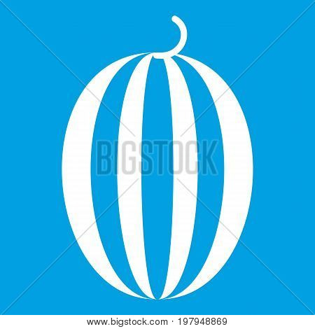 Striped melon icon white isolated on blue background vector illustration