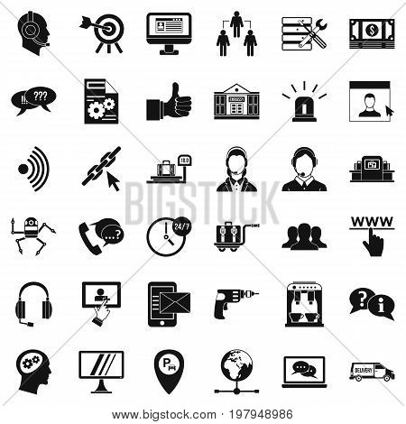 Calling center icons set. Simple style of 36 calling center vector icons for web isolated on white background
