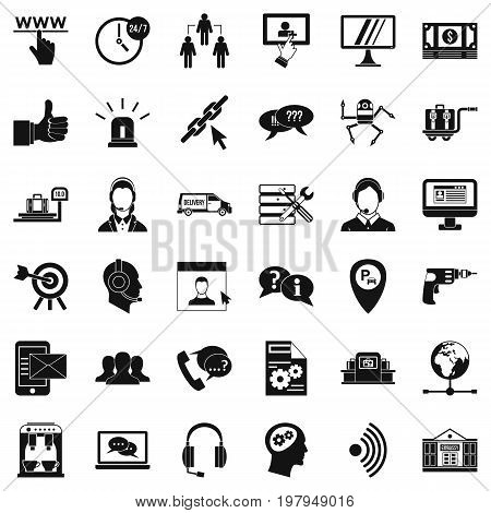 Center operator icons set. Simple style of 36 center operator vector icons for web isolated on white background