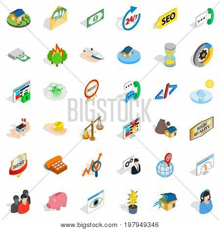 Hot line icons set. Isometric style of 36 hot line vector icons for web isolated on white background