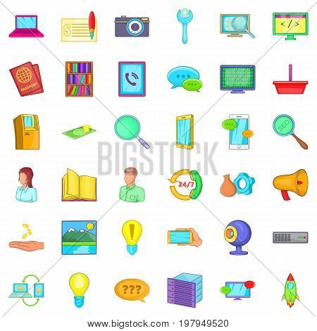 Tech support icons set. Cartoon style of 36 tech support vector icons for web isolated on white background