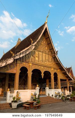 The golden temple Vat Phonxay located in the old quarter of Luang Prabang Laos.