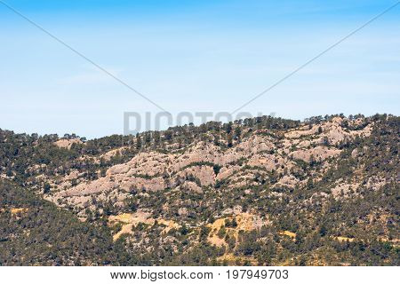View Of Mountains In The Province Catalunya, Spain. Copy Space For Text.