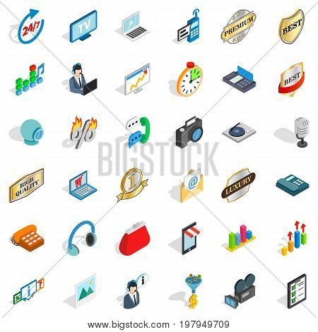 Its support icons set. Isometric style of 36 its support vector icons for web isolated on white background