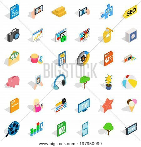 Seo icons set. Isometric style of 36 seo vector icons for web isolated on white background