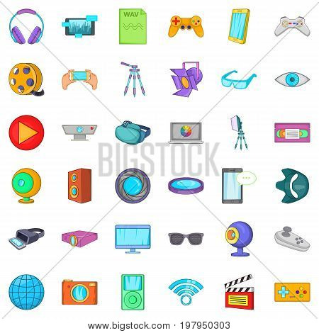 Camera film icons set. Cartoon style of 36 camera film vector icons for web isolated on white background