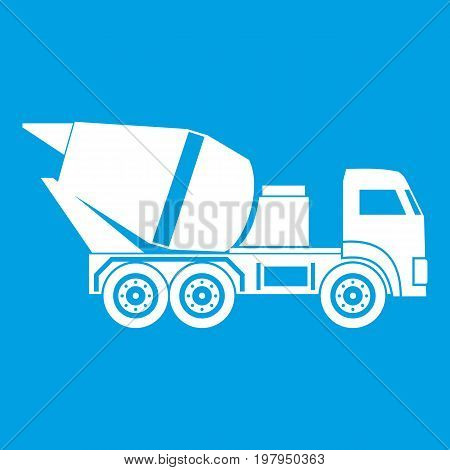 Building mixer for concrete icon white isolated on blue background vector illustration