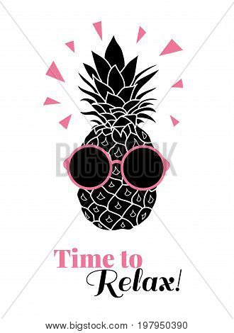 Time to relax vector pineapple wearing colorful sunglasses on summer vacation tropical lement. Great for vacation themed prints, gifts, packaging. Great for vacation themed prints, gifts, packaging. Fun illustration.