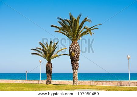 Seafront, Coast In Spain In Miami Platja, Tarragona, Catalunya, Spain. Copy Space For Text.