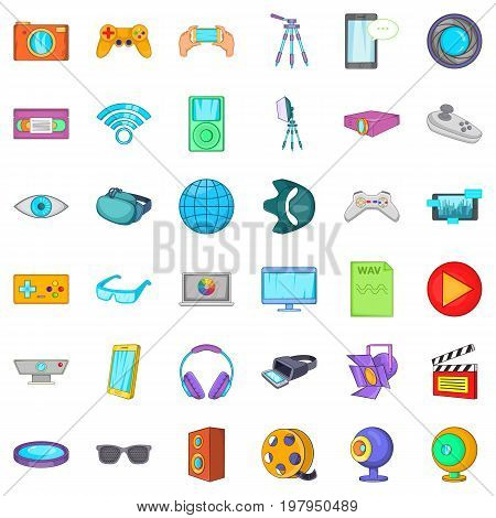 Film studio icons set. Cartoon style of 36 Film studio vector icons for web isolated on white background