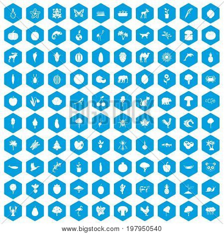100 live nature icons set in blue hexagon isolated vector illustration