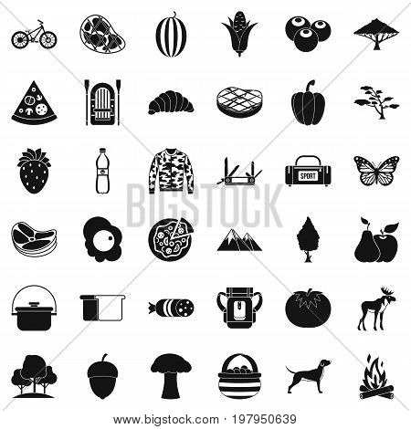 Forest rest icons set. Simple style of 36 forest rest vector icons for web isolated on white background
