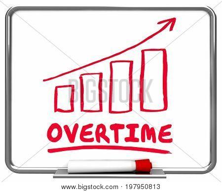 Overtime Extra Added Hours Bonus Arrow Rising Trend 3d Illustration