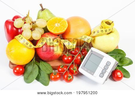 Blood Pressure Monitor, Fresh Ripe Fruits With Vegetables And Centimeter, Healthy Lifestyle Concept