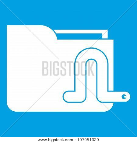 Computer worm icon white isolated on blue background vector illustration
