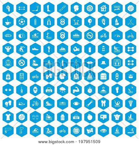 100 men health icons set in blue hexagon isolated vector illustration