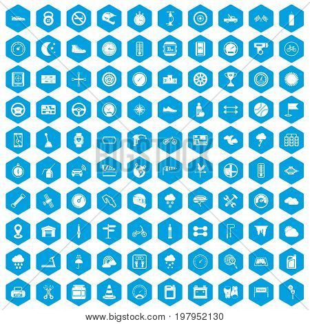 100 motorsport icons set in blue hexagon isolated vector illustration