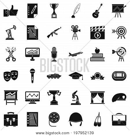 Raising career icons set. Simple style of 36 raising career vector icons for web isolated on white background