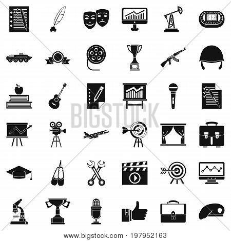 Working target icons set. Simple style of 36 working target vector icons for web isolated on white background