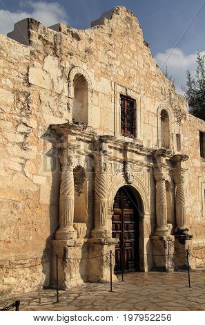 Mission San Antonio de Valero, better known as the Alamo, in downtown San Antonio, Texas