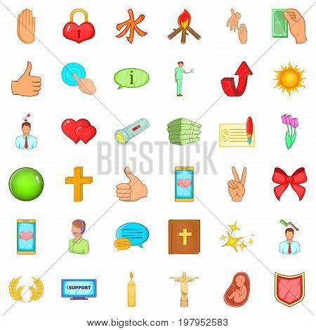 Money help icons set. Cartoon style of 36 money help vector icons for web isolated on white background