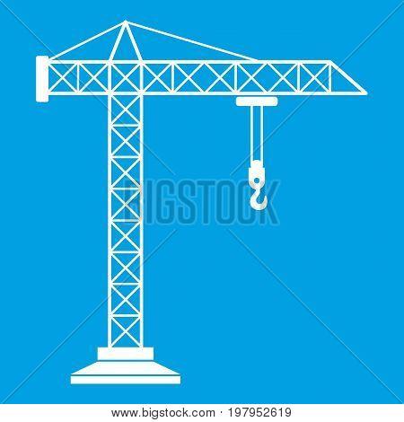 Construction crane icon white isolated on blue background vector illustration