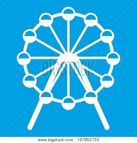 Singapore Flyer, tallest wheel in the world icon white isolated on blue background vector illustration